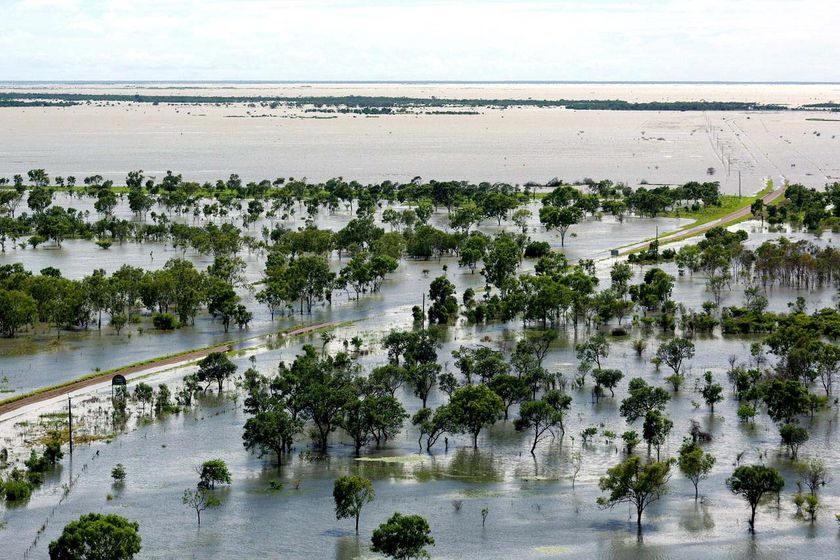 Flooded town of Karumba in north Queensland